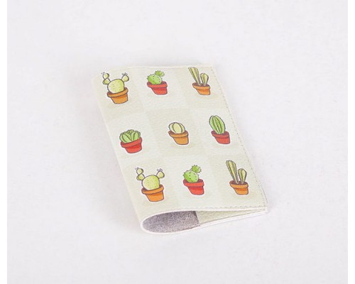 Кожаная обложка для паспорта -Кактусы в горшках-