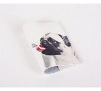 Кожаная обложка для паспорта -Мопс и бабочка-