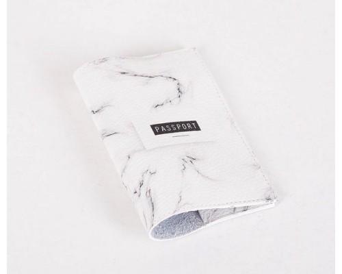 Кожаная обложка для паспорта -Мраморный черный-