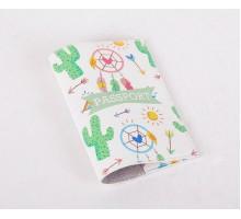 Кожаная обложка для паспорта -Кактусы и ловец снов-