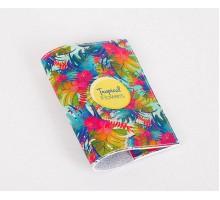 Кожаная обложка для паспорта -Tropical Flowers-
