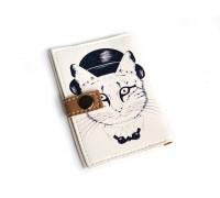 Обложка для ID паспорта -Кот в котелке-