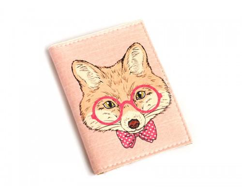 Обложка для ID паспорта -Лис в очках-