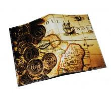 Кожаная обложка для паспорта -Золотые монеты-