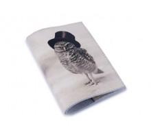 Винтажная обложка на паспорт -Сова в пенсне-