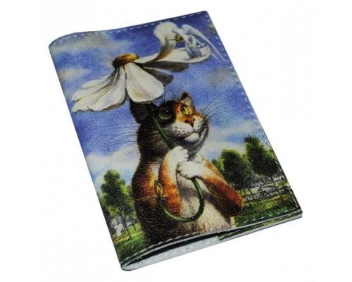 Обложка для паспорта -Кот под зонтиком-