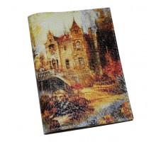Кожаная обложка для паспорта -Осенний замок-