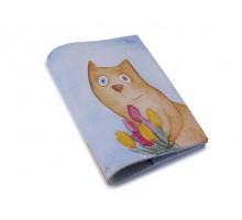 Винтажная обложка на паспорт -Кот с тюльпанами-