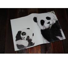 Кожаная обложка для паспорта -Панда-