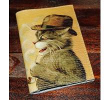 Кожаная обложка для паспорта -Кот в шляпе-