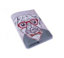 Кожаная обложка для паспорта -Мопс в очках-