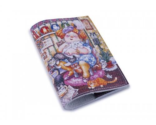 Кожаная женская обложка для паспорта - Любительница котов-