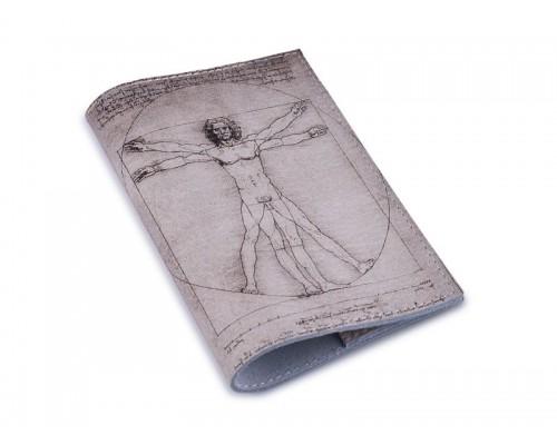 Кожаная обложка для паспорта -Витрувианский Человек-