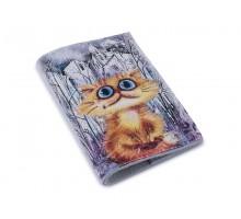 Кожаная обложка для паспорта - Рыжий кот в городе-