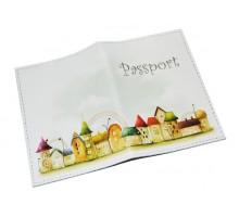 Кожаная женская обложка для паспорта -Домики-