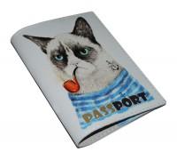 Кожаная обложка для паспорта -Недовольный котэ-