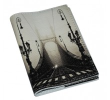 Кожаная обложка для паспорта/загранпаспорта -Мост  в тумане-