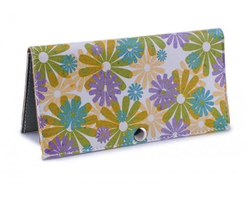 Женский кошелек -Разноцветные цветы-. Ручная работа