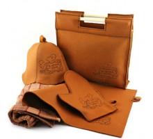 Подарочный набор для бани 5в1 фетровый (коричневый)