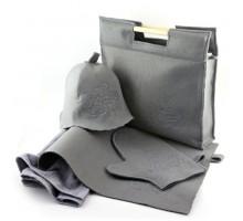 Подарочный набор для бани 5в1 фетровый (серый)