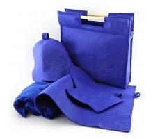 Подарочный набор для бани 5в1 фетровый (синий)