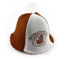 """Фетровая шапка для бани с вышивкой """"Банька"""""""