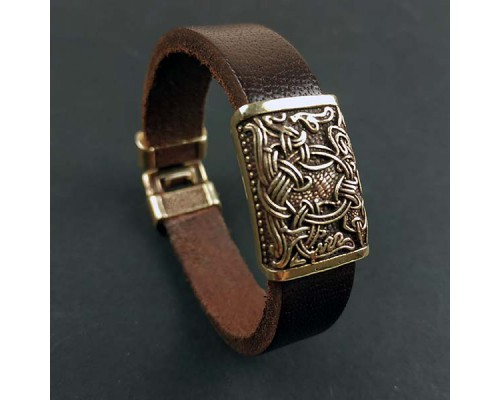 Кожаный браслет с одной бронзовой бусиной