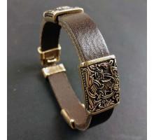 Кожаный браслет с тремя бронзовыми бусинами