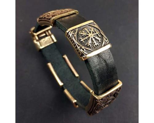 Кожаный браслет с пятью бронзовыми бусинами