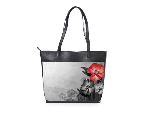 """Вместительная женская сумка """"Красный цветок"""""""