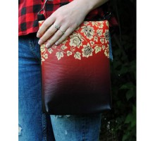 "Женская сумка через плечо ""Хохлома бордо"""