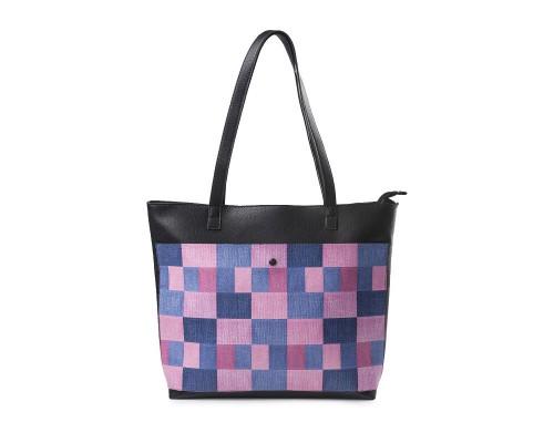 """Женская сумка-шоппер """"Розовая клетка"""""""