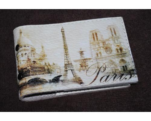 Визитница из экокожи -Винтажный Париж-